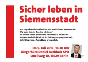 Plakat Sicher leben in der Siemensstadt -small