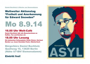 Plakat Snowden im Buergerbuero Buchholz am 8-9-2014