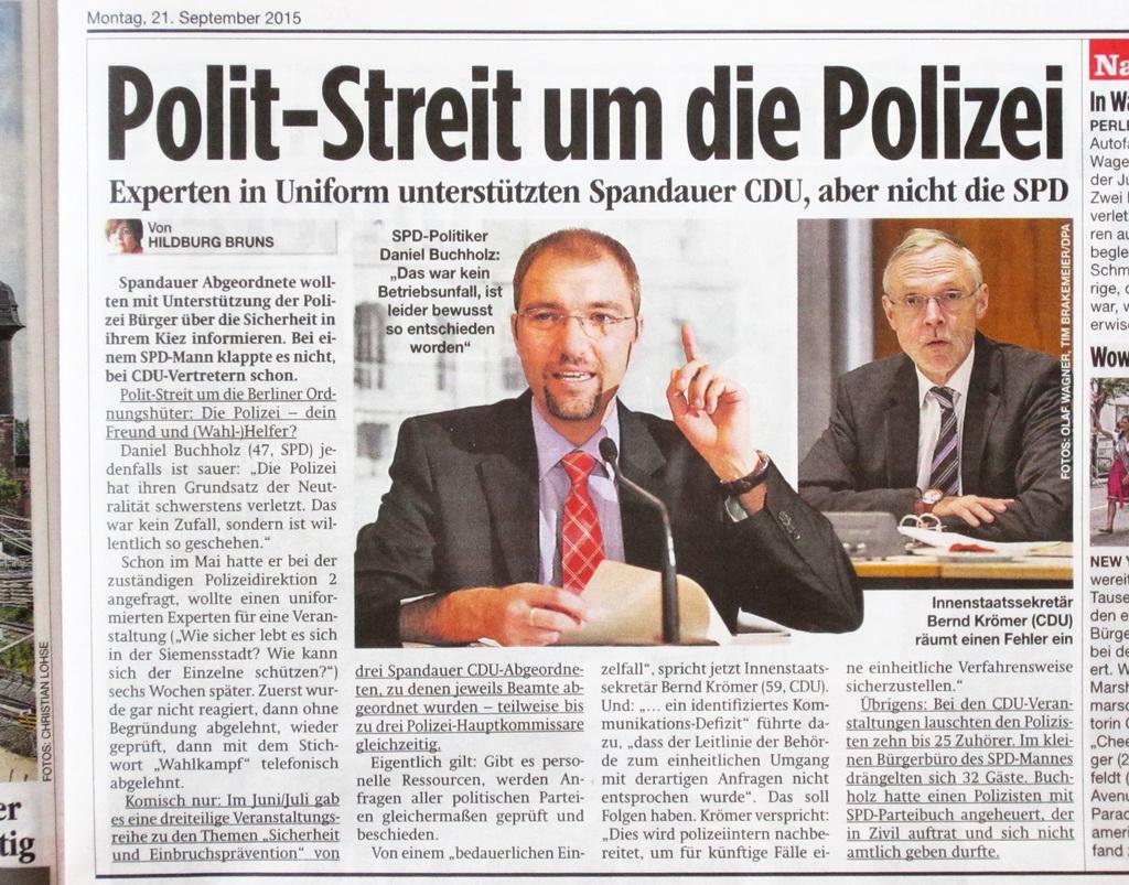 Polizei bevorzugt CDU Artikel 09-2015